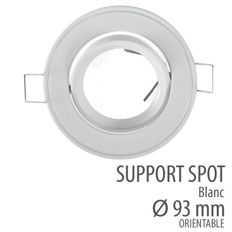 Support spot orientable 93mm blanc