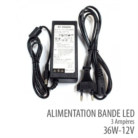 Alimentation bande led 36 W-12V / 3A - IP50