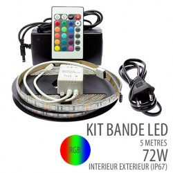 Kit bande led 72W - 60Leds/m - 5 Mètres - RGB - IP67