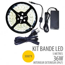 Kit bande led 36W - 30 Leds/m - 5 Mètres  - IP67