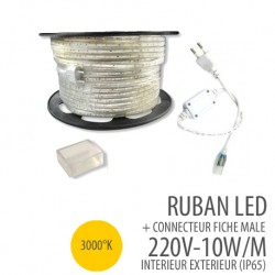 Ruban led -3000°K-220 Volts AC - 60leds/mètre IP65