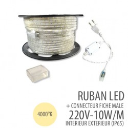 Ruban led - 4000°K-220 Volts AC - 60leds/mètre IP65