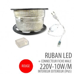Ruban led - Rouge-220 Volts AC - 60leds/mètre IP65