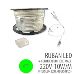 Ruban led  VERT - 220 Volts AC - 60leds/mètre IP65