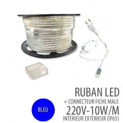 Ruban led  BLEU - 220 Volts AC - 60leds/mètre IP65