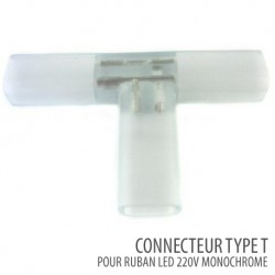 Connecteur type T ruban led 220V/AC monochrome - SMD 5050