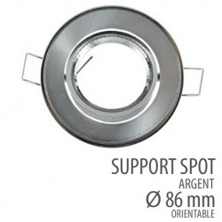 Support spot rond orientable 86mm argent
