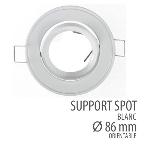 support spot rond orientable 86mm blanc