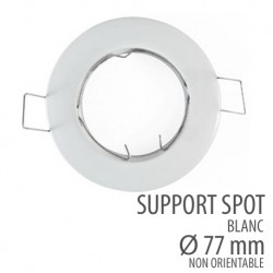 Support spot rond orientable 77mm blanc