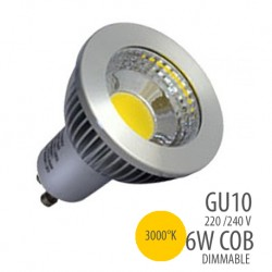 LED COB-GU10-6W dimmable, couleur 3000°K