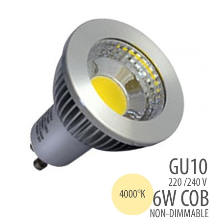 LED COB-GU10-6W-non dimmable, couleur 4000°K