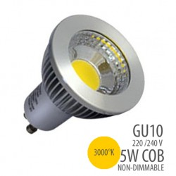 LED COB-GU10-5W-non dimmable, couleur 3000°K