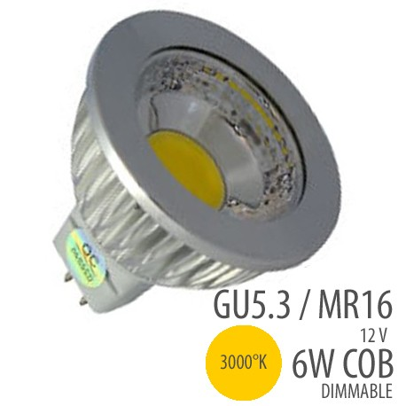 LED COB-GU5.3/MR16-6W-dimmable,couleur 3000°K