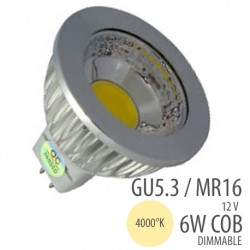 LED COB-GU5.3/MR16-6W dim, couleur 4000°K